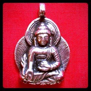 Vintage Sterling Silver Meditation Buddha Pendant